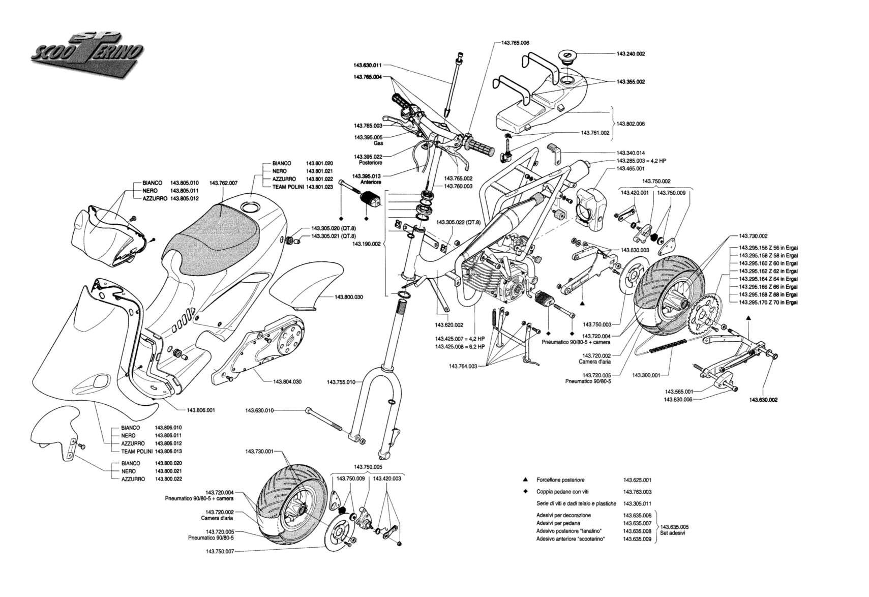 polini scooterino sp exploded diagram